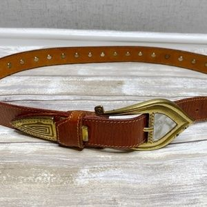 Vintage Brass and Mother of Pearl Leather Belt